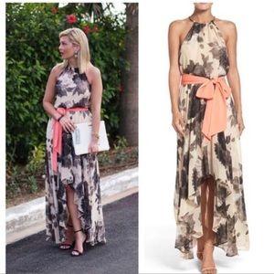 Eliza j Taupe floral print chiffon hi lo dress